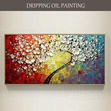 Pintura al óleo de árbol de flores con textura pesada de alta calidad pintada a mano de artista cualificado pintura al óleo sobre lienzo gruesa 3D para sala de estar