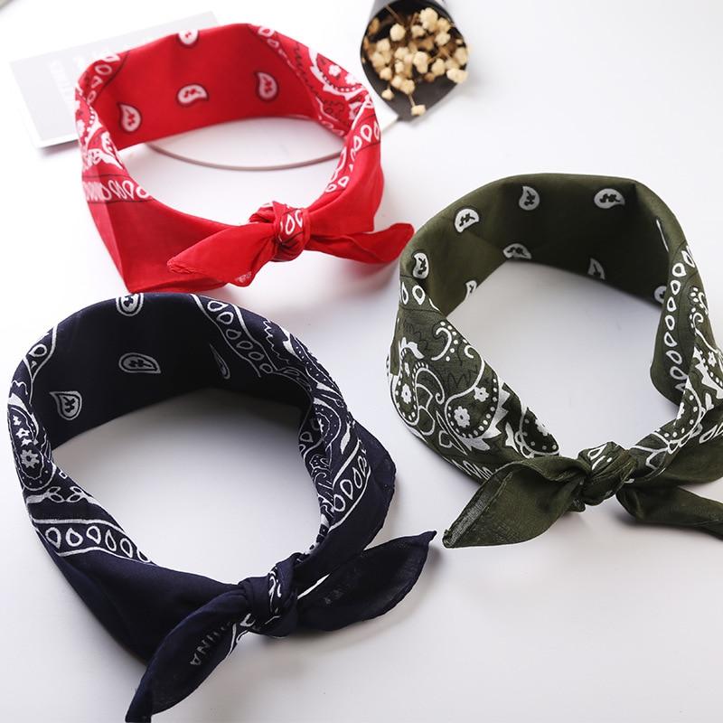 Neue Angekommene Unisex Hip Hop Schwarz Bandana Mode Headwear Haar Band Hals Schal Handgelenk Wraps Platz Schals Drucken Taschentuch