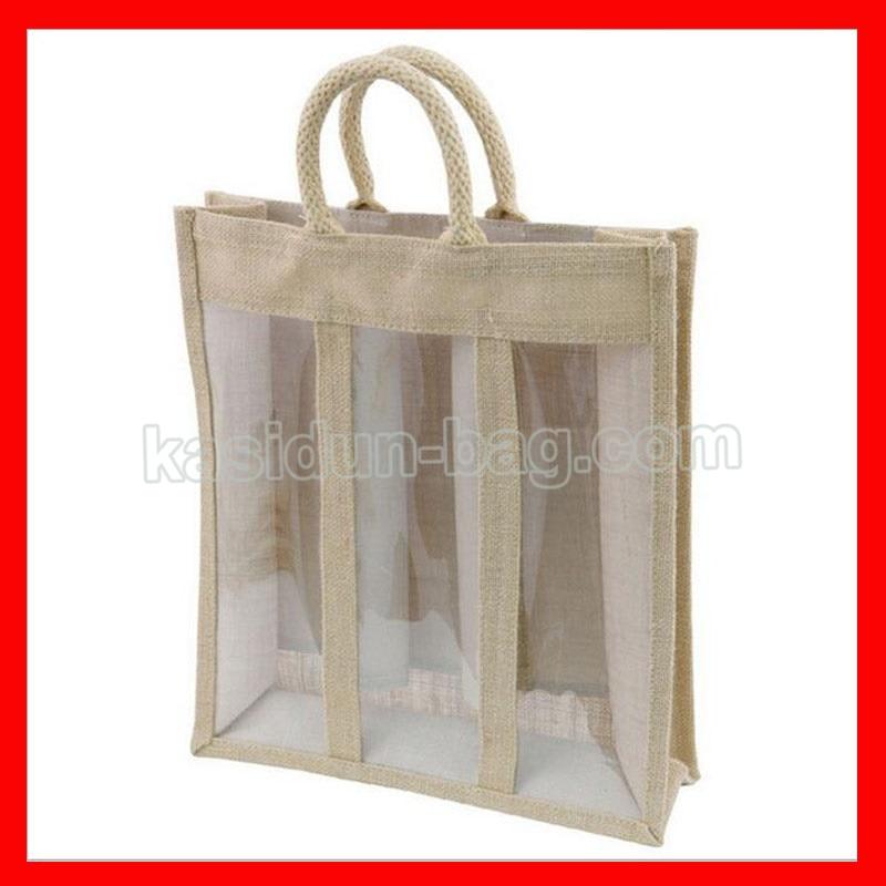 (200 unids/lote) tamaño W30xH35xD10cm tres botellas de yute bolsas de vino con ventana de PVC