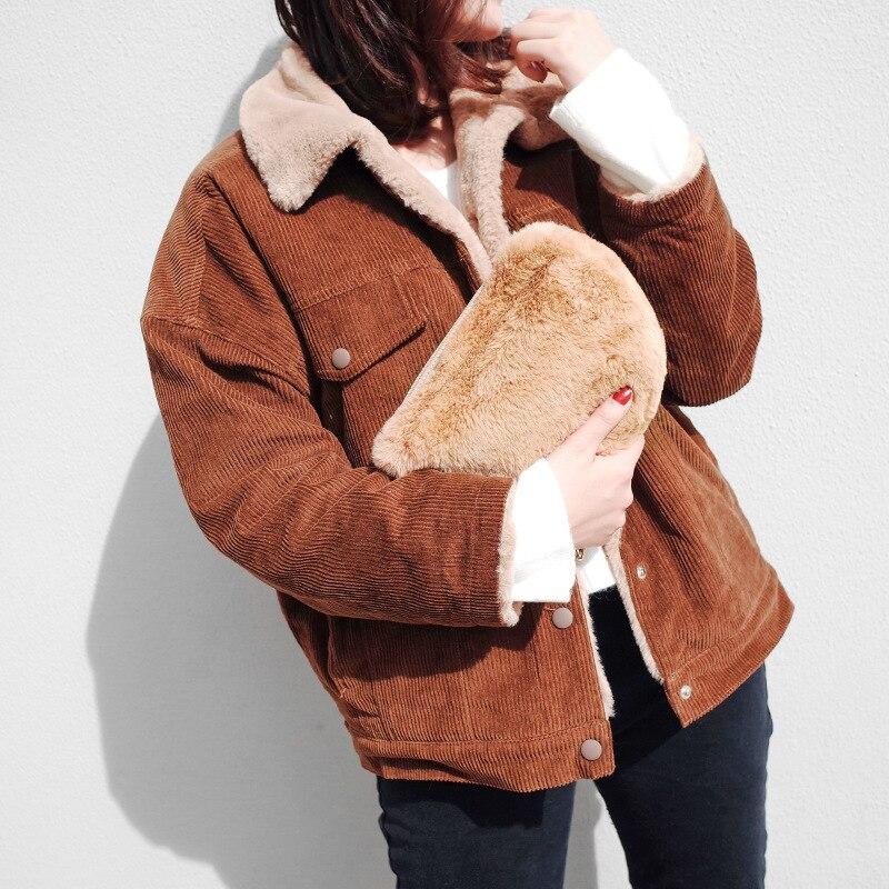 2018 Fashion Winter Women Clutch Corduroy Material Chain Bags Femme fur retro Girl Cute Crossbody zipper bag Half Moon