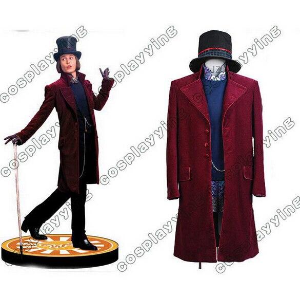 Charlie y la fábrica de Chocolate del traje de Cosplay de Johnny Depp Willy Wonka Cosplay disfraces de Halloween para hombres adultos