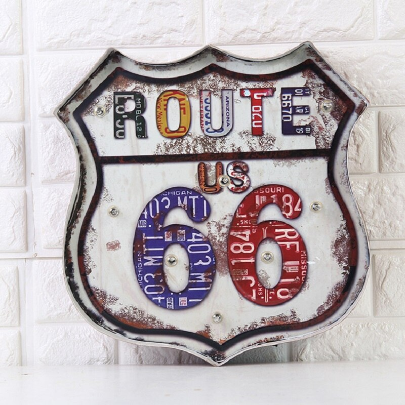 Decoración Para el hogar Vintage Lightbox US 66 LED de neón Signage Shabby chic nudillos de latón arma decoración para el hogar Placas decorativas de de metal
