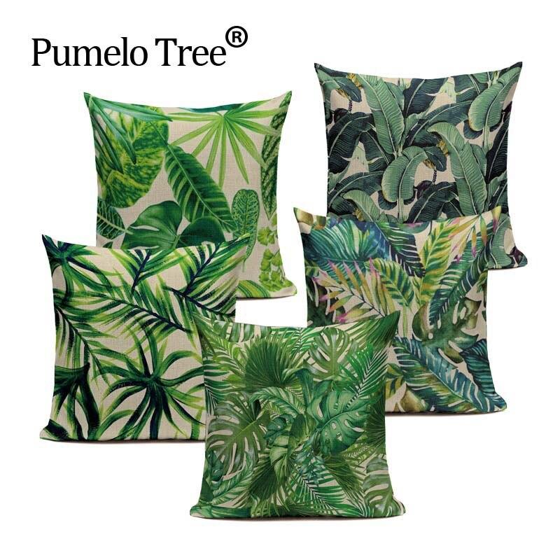 Модная Высококачественная хлопковая льняная африканская декоративная наволочка с тропическим растением и банановым листом, наволочка для подушки, наволочка для дивана, домашний декор