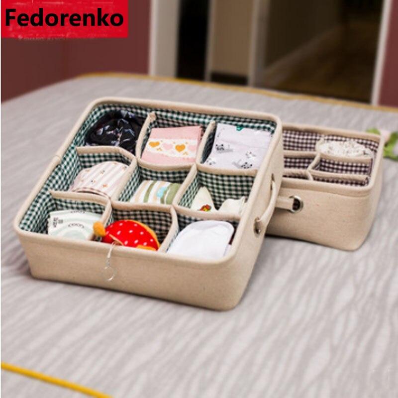 Organizador de ropa interior caja de almacenamiento verde/forro de café cajón Organizador de armario cajas para bufandas calcetines de lino de algodón grueso