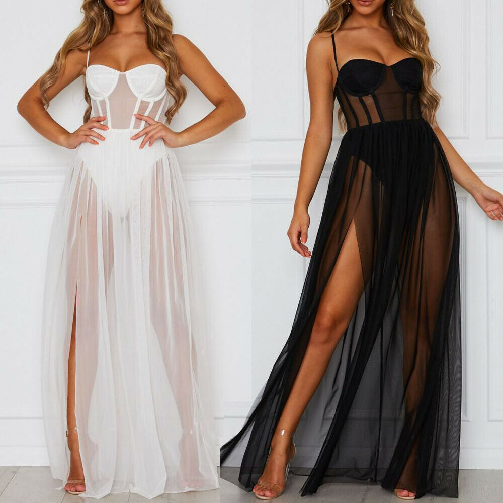 2020 NEW Sexy White Mesh Dress Women Perspective Evening Party Dress Sleeveless Backless Solid Black Long Ladies Summer Dresses sexy jewel neck backless sleeveless black dress for women