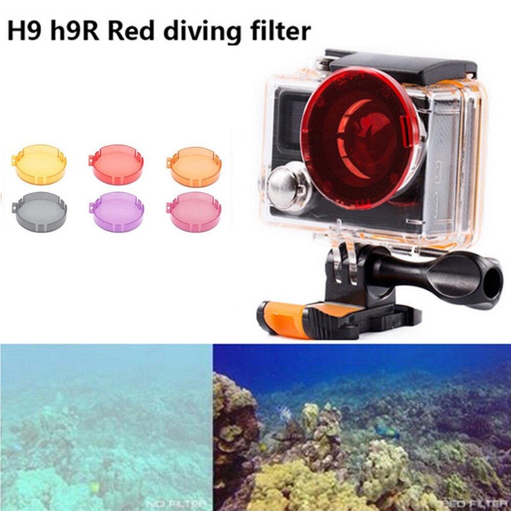 Filtro de lente de Color agua de buceo para Eken H9R H8R Cámara de Acción impermeable funda carcasa rojo amarillo lente filtros accesorios de cámara