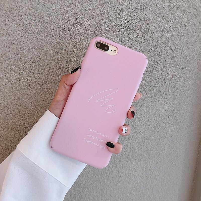 Rosa Retro arte carta coreano funda para iPhone x XS XR Xsmax 7 Puls 6 6S 7 7 8 Puls casos lindo de plástico duro cubierta mate