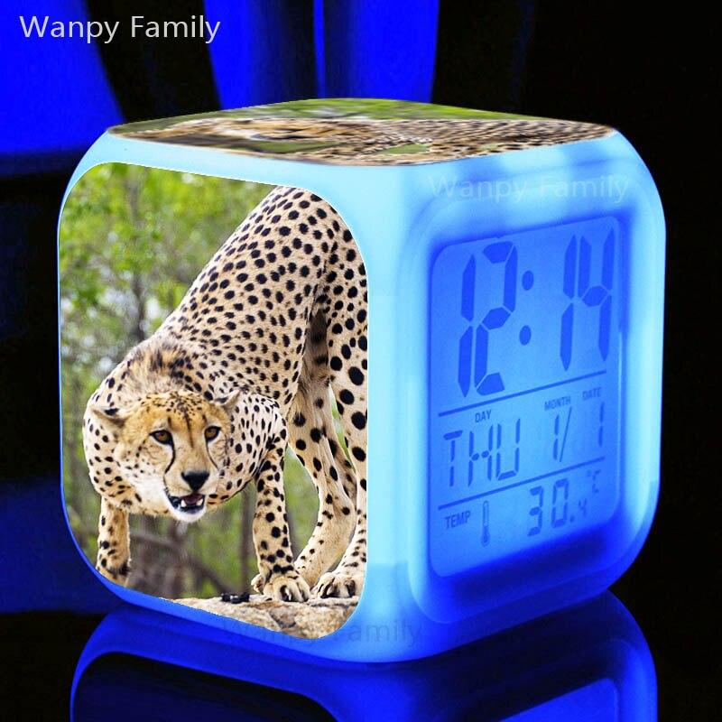 Reloj despertador Cheetah africano para habitación de niños, escritorio, multifunción, cambio de Color, Despertadores digitales
