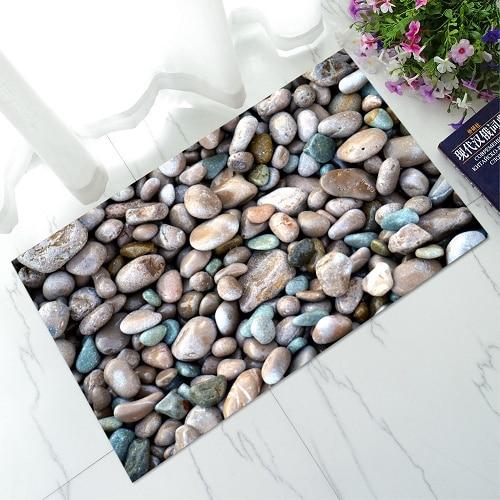 Criativo 3d cobble pedra bem-vindo capachos antiderrapante tapete de banho do banheiro cozinha quarto tapetes área k udr10