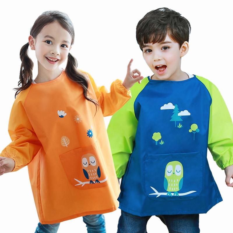 0-11 years Waterproof Baby Girl Boy Long Sleeve Cartoon Bibs Toddler Infant Burp Cloth Feeding Child drawing and painting Apron