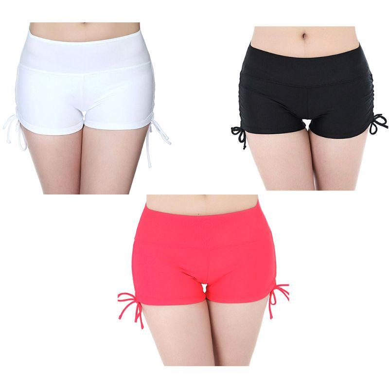 Pantalones cortos deportivos de verano de cintura alta para playa y gimnasio para mujer, pantalones cortos deportivos de Color sólido con lazo lateral y nudo fruncido