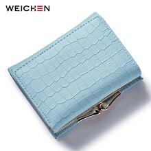 WEICHEN fermoir serrure trois fois fissure cuir portefeuille femmes petit porte-monnaie carte tenir Mini changement sac à main bleu femme portefeuilles chaud