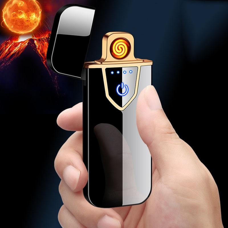 Sensor táctil a prueba de viento electrónico ultradelgado Cable de calentamiento eléctrico encendedor de cigarrillos USB carga encendedor respetuoso con el medio ambiente