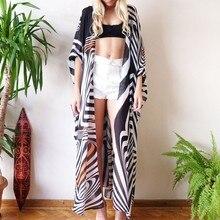 2020 Zebra Print Summer Women Bikini Cover Up Cardigan Chiffon Beach Dress Swimsuit Kaftan Beach Tunics Pareos De Playa Mujer