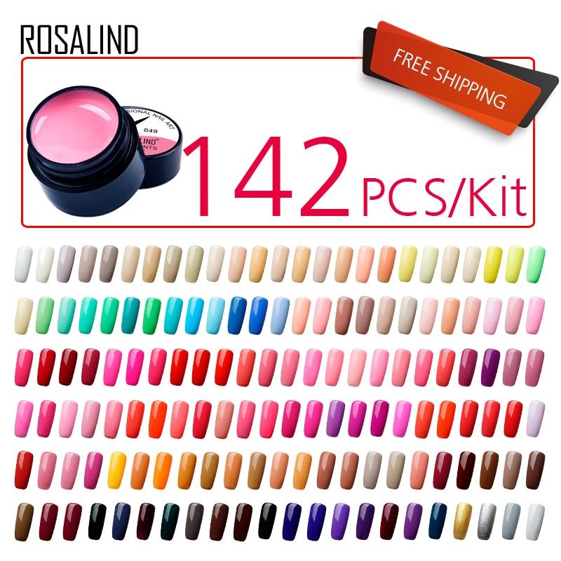 (142 adet/grup) ROSALIND 5ML boyama jel vernik kiti DIY UV jel oje seti manikür seti astar taban üst kat tırnak sanat