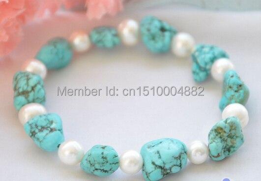 "Shitou 00357 Stretch 8 ""redondo blanco perla azul turquesa bolas pulsera"