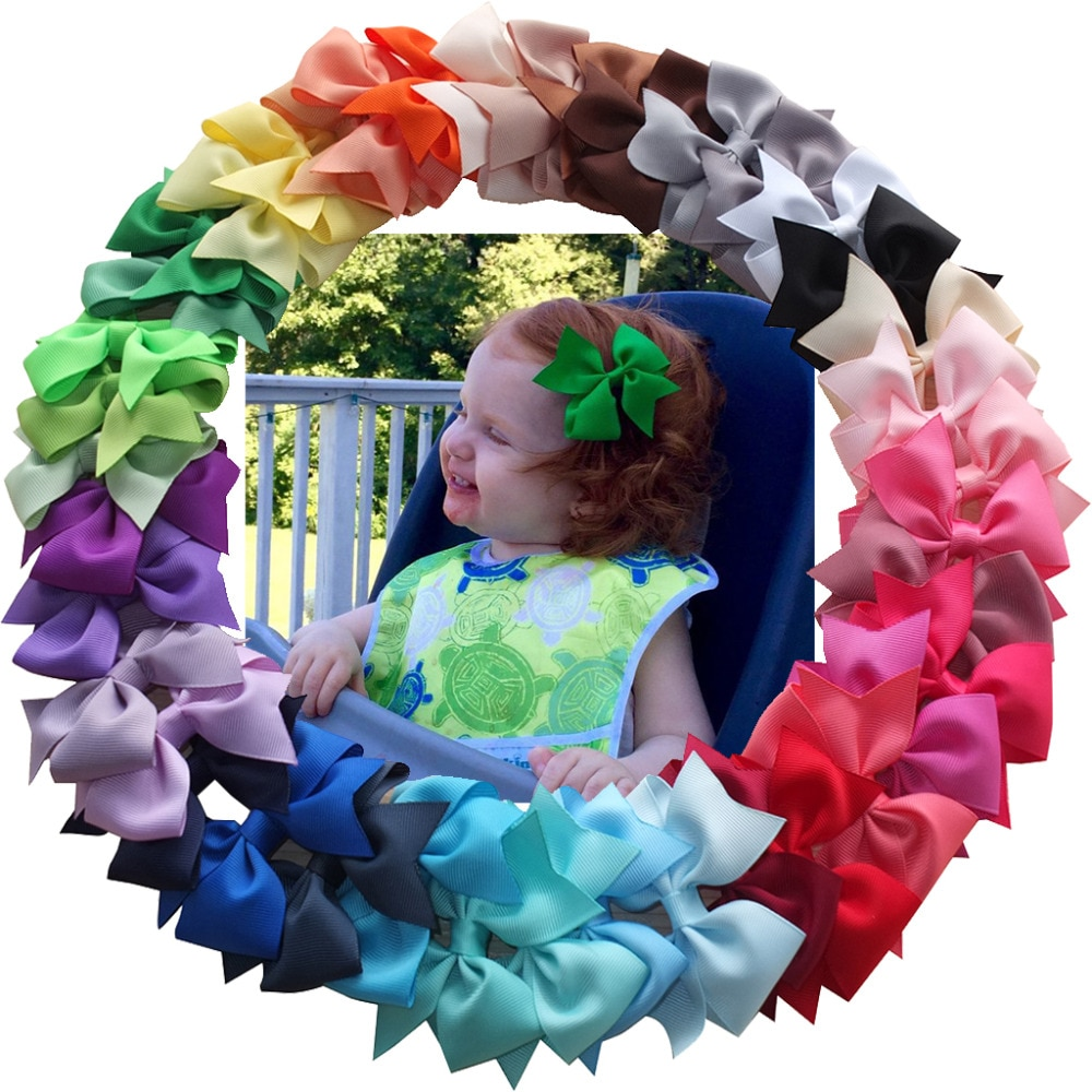 3.5 Inch Baby Kids Hair Bow Boutique hair accessories Hairgrips Hair Clips Barrettes School Hair Bow Dovetail bow Clips 40 pcs