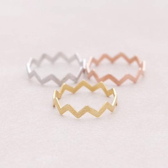 Shuangshuo nueva moda anillo de compromiso anillo de bodas zigzag anillos de onda para mujeres regalos JZ032