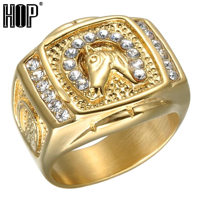 الهيب هوب مايكرو تمهيد حجر الراين مثلج خارج بلينغ الحصان الدائري IP الذهب شغل التيتانيوم الفولاذ المقاوم للصدأ خواتم للرجال والنساء مجوهرات