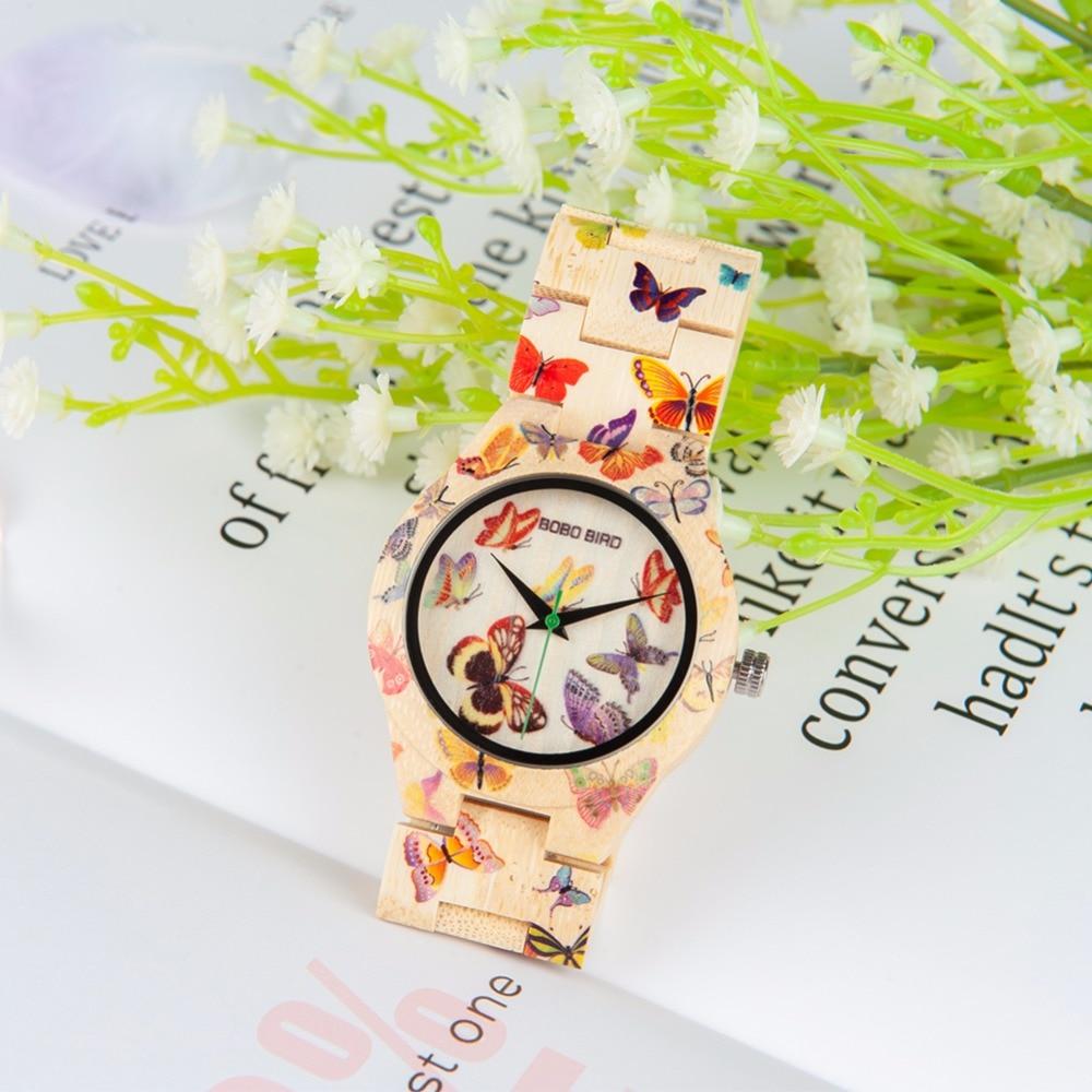BOBO BIRD, relojes de bambú para mujer, relojes de cuarzo para mujer, relojes de mariposa vrouwen, reloj de mujer, logotipo personalizado con caja de madera