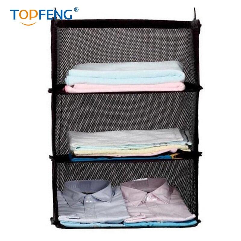 Topfeng 3 camadas saco de armazenamento de viagem portátil gancho pendurado organizador guarda-roupa rack de armazenamento titular mala viagem prateleiras