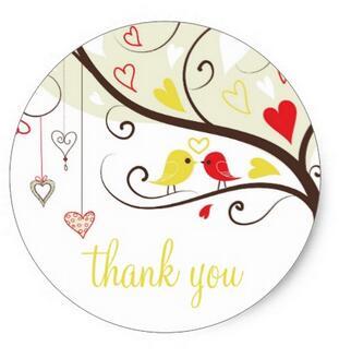 1.5 polegadas Vermelho e Amarelo Pássaros do Amor Obrigado Etiqueta