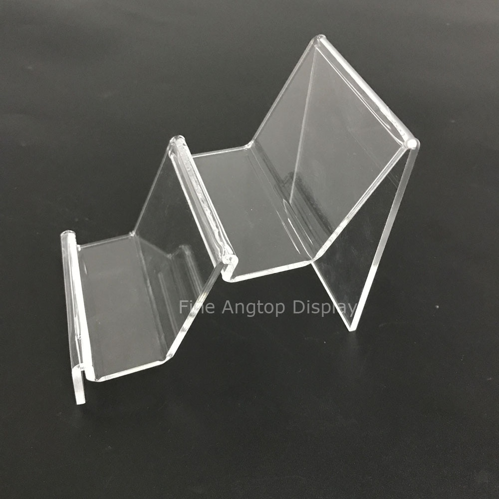 Soporte de bolso de plexiglás para estante de exhibición transparente con elevador de billetera de acrílico de 2 pasos