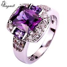 Lingmei, joyería encantadora de moda para fiestas de mujeres, Color púrpura y blanco CZ, anillo de Color plateado, tamaño 6 7 8 9 10 11 12 13, regalos al por mayor