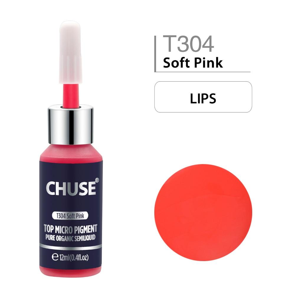 CHUSE Soft Pink T304 tinta de maquillaje permanente delineador de ojos tatuaje tinta conjunto de cejas Microblading pigmento profesional 12ML 0,4 oz