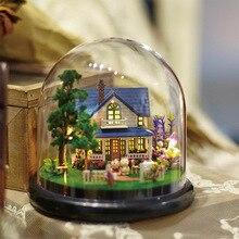 Bricolage maison de poupée tourner boîte à musique Miniature assembler Kits maison de poupée maisons de poupée Casa jouets maison de poupée Miniature à monter soi-même bricolage maison de poupée avec meubles