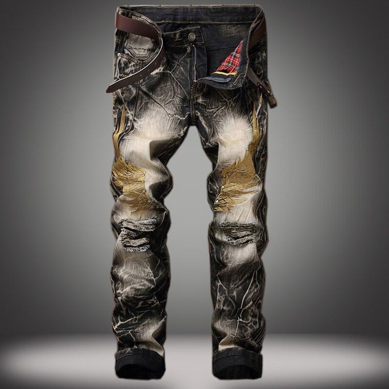 Мужские зауженные потертые рваные джинсы, повседневные Черные Прямые джинсы в стиле ретро с вышитыми крыльями, мужские джинсы в стиле хип-х...