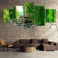 5 panels canvas wall art picture green tree oil painting home decoration living room canvas print modern painting no frame