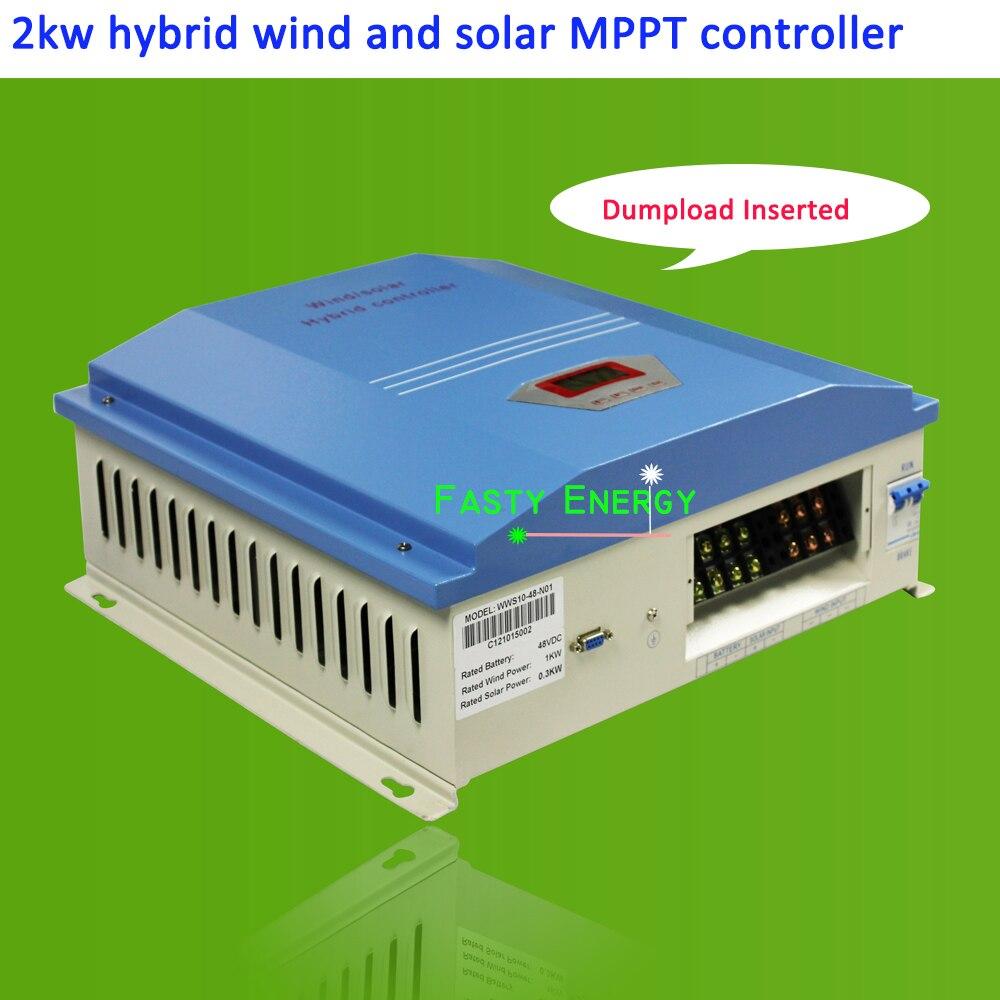 2019 2000 w/2kw 48VDC IP42 regulador híbrido de viento y solar MPPTcontroller para generadores de turbina eólica para carga