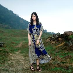 Tailândia estilo exótico selo flor férias vestido longo solto grande retro arte viagem vestido boho calico floral crochê impressão índia