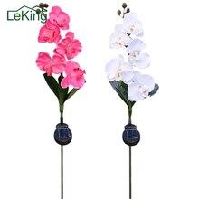 5-Head Solar Butterfly Orchid Light LED Artificial plants Flower Outdoor Garden decoration accessories Path Way Lawn Landscape