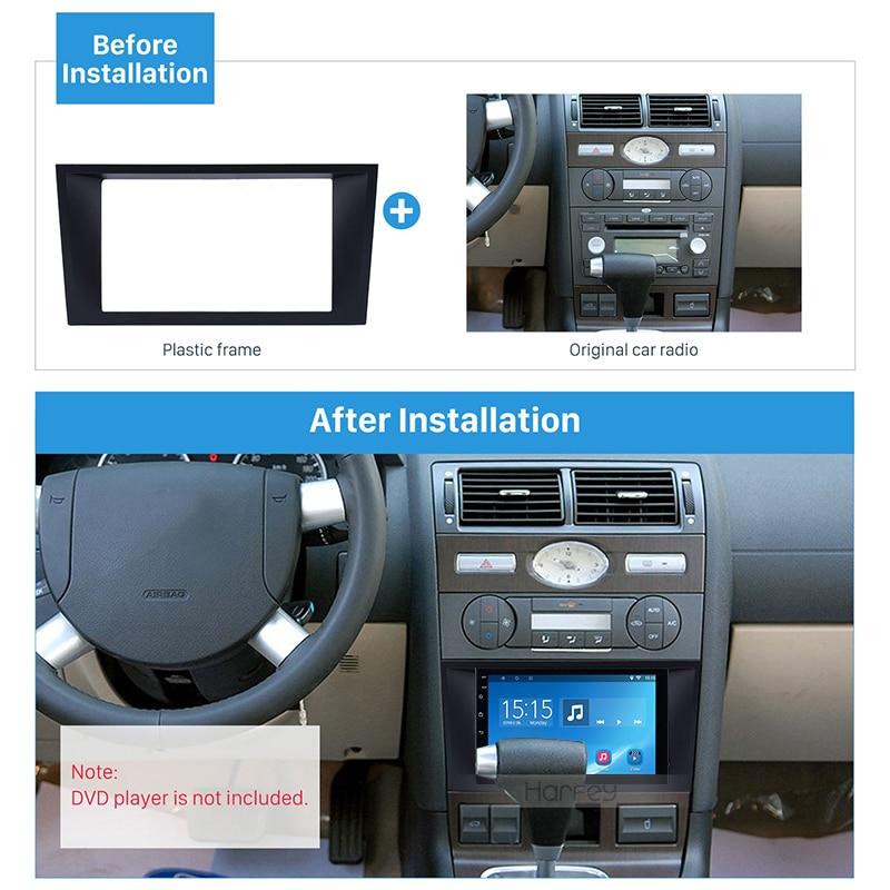 Harfey Car Radio 2Din Frame Fascia For 2006 Ford Mondeo Trim Bezel Dash Kit Panel Adaptor Audio Refitting Bezel
