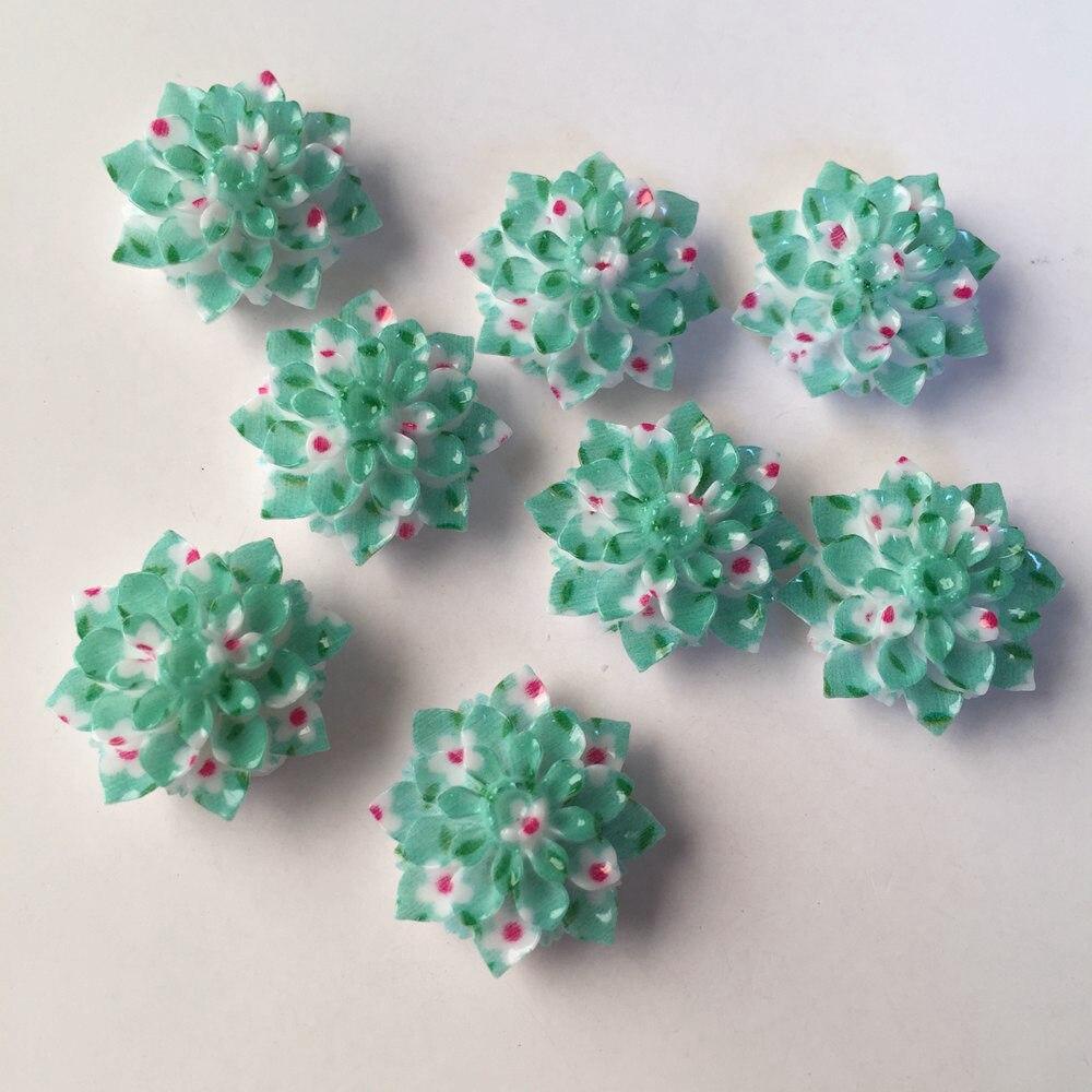 Résine AB nouveau 10 pièces 20mm   Fleurs imprimées, pierre à dos plat de mariage, bricolage, artisanat Scrapbok, ornements en résine R527