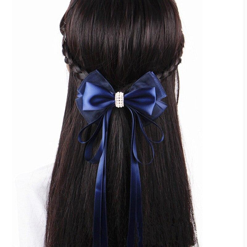 Moda hecha a mano Oficina señora flor con lazo de encaje corbata perla pasador Clip de pelo cubierta Bowknot redecilla para moño cuerda de pelo