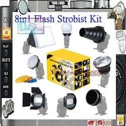 Novo 8 em 1 Universal Adaptador Conjunto Kit de Acessórios flash Strobist Flash Da Câmera Softbox Difusor para 580EX 600EX Speedlite YN568