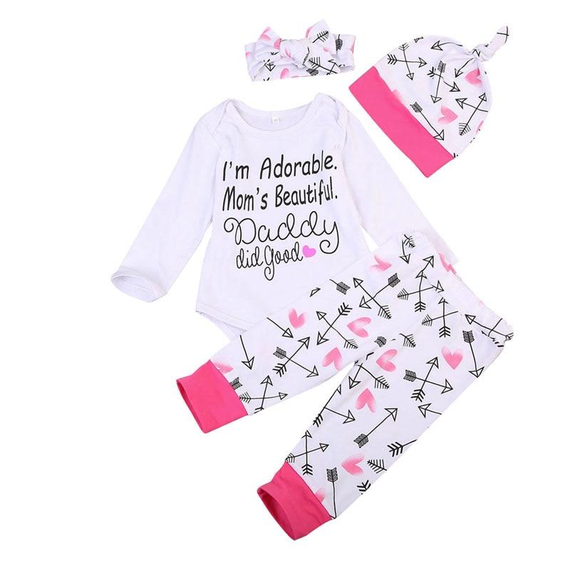 Cute Newborn Infant Baby Girls Long Sleeve Tops Romper Pants Hat 4Pcs Outfits Set Clothes