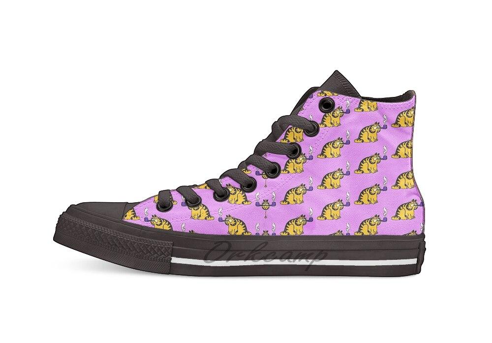 Garfield con diseño de tubería transpirable Casual alto cordones zapatos de lona zapatillas para Drop shipping