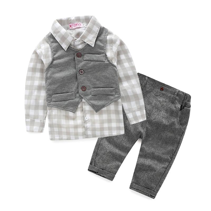 (3 unids/set) ropa de bebé niño recién nacido Caballero ropa de bebé Camisa + chaleco + Pantalones bebé niño ropa conjunto