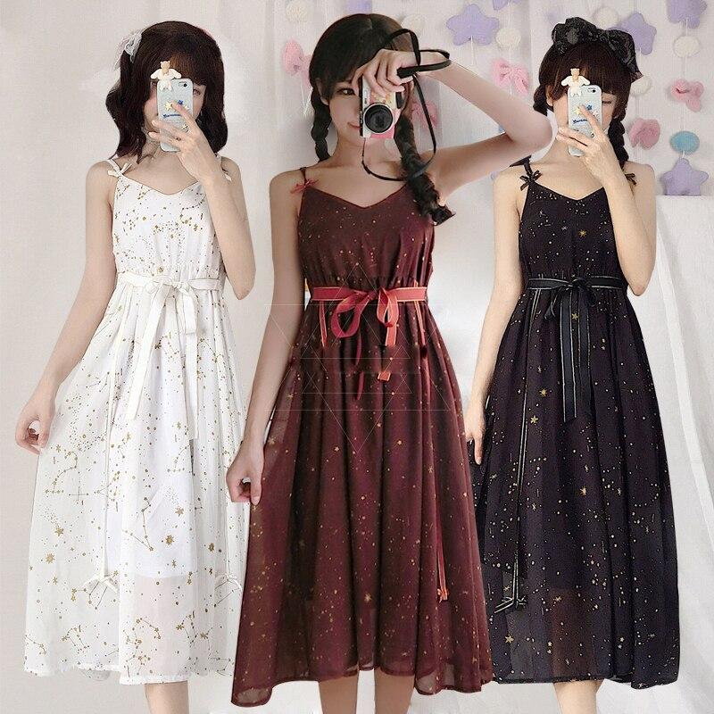 Adulte noir rouge blanc Lolita robes manteau ciel étoilé femmes été Slip robe bretelles jupe en mousseline de soie empêché se prélasser vêtements