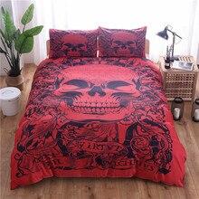 Juego de ropa de cama con estampado de calaveras Rojas, juego de cama de 2/3 uds, ropa de cama Individual Doble King