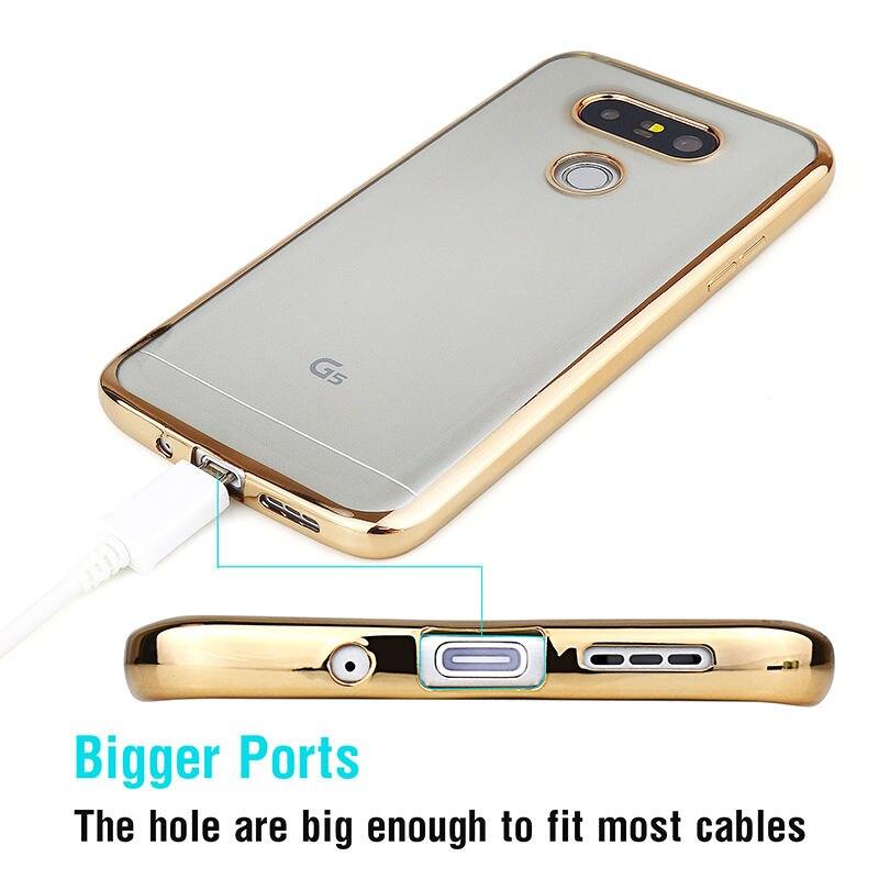 Sprawa silikonowy Do LG G4 G5 K5 K10 Pokrywa Przezroczysty Poszycia Złota Ultra Thin Miękkie Wyczyść Back Cover Dla LG G4 G5 K5 K10 Coque 3