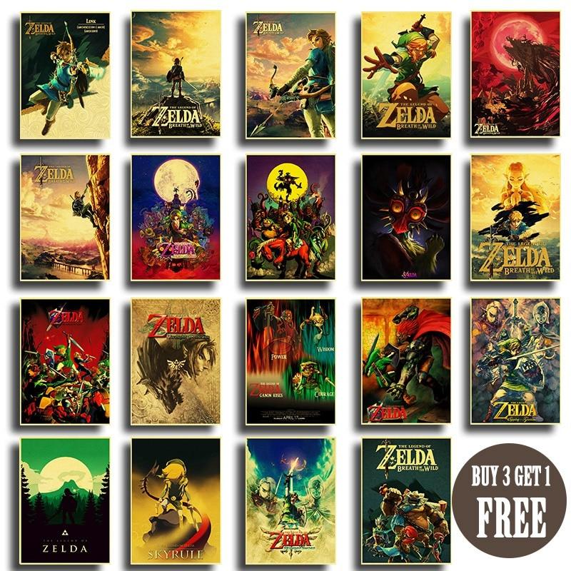 Ретро стикер на стену легенда о Зельде постер Классическая игра крафт-бумага постеры декоративное домашнее Искусство Настенная живопись