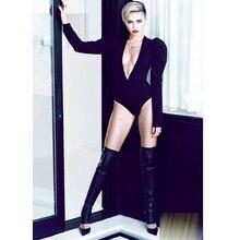 Frauen Farbe Schwarz Glitter Stein Sexy Club Overalls, Strass Tiefen V Fehlschlag Bodysuit Weibliche Mieder Bodycon Miley Bühnenkostüme