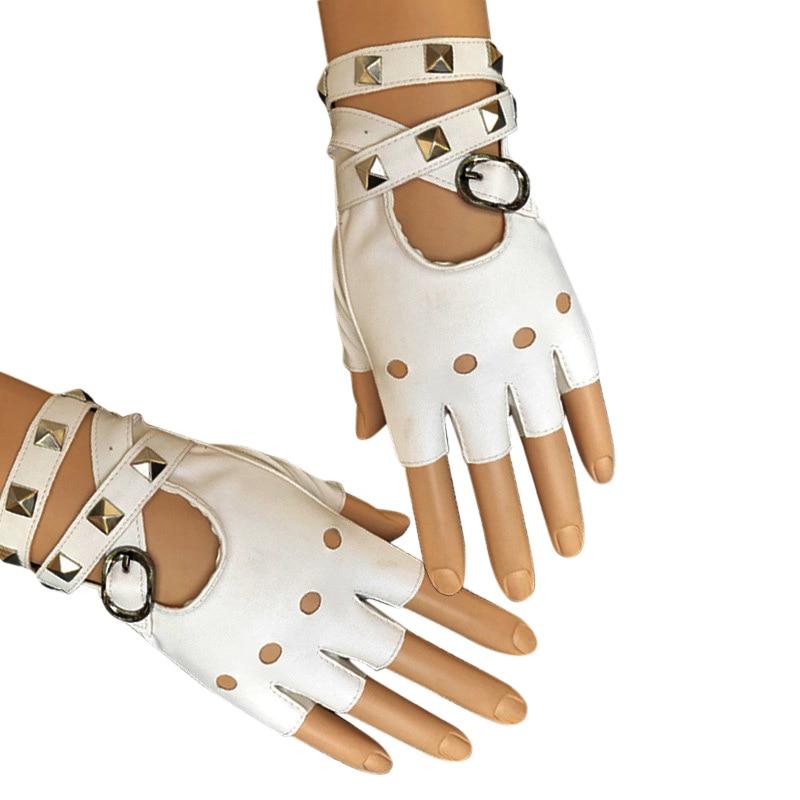 1 Pair Half Finger PU Leather Gloves Rock Punk Style Rivet Fingerless Motorcycle Gloves New