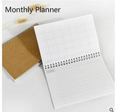 Planificador 2017 Día mensual Krafts Agenda Día planificador diario 2017 Kawaii diario papelería útiles escolares 48 hojas internas
