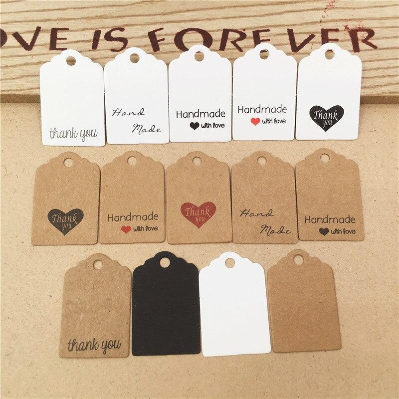 Paquete de etiquetas de papel Kraft de 3x2cm, 200 unidades por lote, Mini etiquetas de tamaño para regalo de Día de Gracias, etiquetas de embalaje para joyería, se acepta personalización